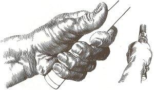 Hai góc nhìn tay cầm hoàn chỉnh của tay trái. Các điểm áp lực chính là ba ngón cuối.