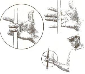 Như hình vẽ cho thấy, gậy nằm dọc khớp đầu các ngón của bàn tay phải. Hai ngón giữa tạo phần lớn áp lực.