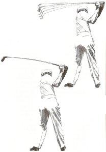 Hình trên: Nếu tay cầm sai, golfer sẽ không kiểm soát được gậy ở đỉnh của backswing.Hình dưới: Nếu tay cầm đúng, gậy sẽ được giữ chuẩn xác và được kiểm soát hoàn toàn khi ở đỉnh của backswing.